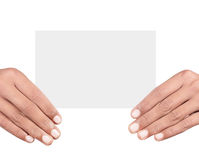 Hand holding card. Isolated on white background Stock Images