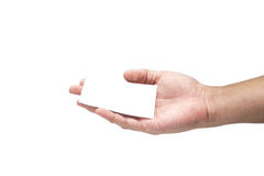 Hand holding Card,Paper Isolated Royalty Free Stock Photo