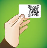 Hand holding card with qr code Royalty Free Stock Image