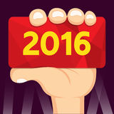 Hand holding card 2016. Vector design Stock Image