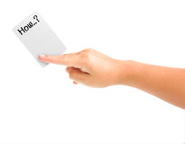 Hand holding card with the word how. Isolated on white background Royalty Free Illustration