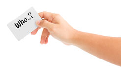 Hand holding card with the word who. Isolated on white background Stock Image