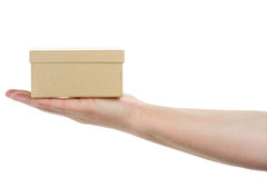Hand holding cardboard box Stock Photography