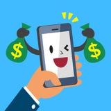 Hand holding cartoon smartphone and earning money Stock Photo