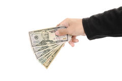 Hand holding cash, isolated on white background Royalty Free Stock Images