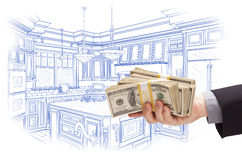 Hand Holding Cash Over Custom Kitchen Design Drawing. Hand Holding Stacks of Money Over Custom Kitchen Design Drawing stock illustration