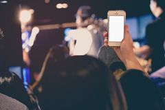 Hand holding Cell phone Blank screen Photo shot Blur Concert Background Stock Photo