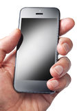 Hand Holding Cell Phone Mobile. A man holding an iphone cell phone isolated on white Stock Photography