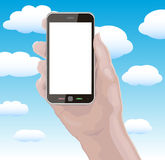 Hand Holding Cellphone with Blank Screen Stock Images