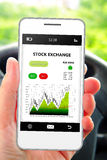 Hand holding cellphone with stock exchange screen Royalty Free Stock Image