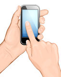 Hand holding cellular phone and touching the scree. N. vector illustration. All main elements are on separate layers and can be edited as required vector illustration