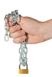 Hand holding chain with padlock Royalty Free Stock Photos
