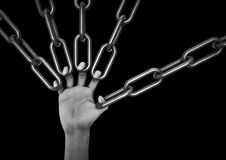 Hand holding chains. 3D render of hand holding chains with each finger Stock Photos