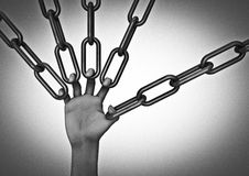 Hand holding chains. 3D render of hand holding chains with each finger Stock Photo
