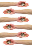Hand Holding Change Coins Stock Photography