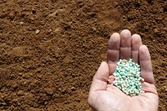 Hand holding chemical fertilizer on soil background. Royalty Free Stock Images