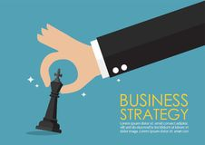Hand holding chess figure infographic. Business strategy concept Royalty Free Stock Photography