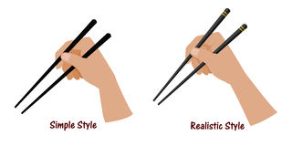 Hand holding the chopstick Stock Photography