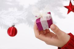 Hand holding a christmas gift Stock Photos