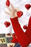 Hand holding a christmas heart Royalty Free Stock Photography