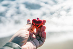 Hand holding Christmas heart Royalty Free Stock Images