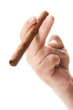 Hand holding a cigar Royalty Free Stock Photo