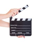 Hand Holding Clapperboard On White Background Stock Images