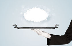Hand holding clear big cloud on tray Stock Photos