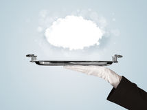 Hand holding clear big cloud on tray Royalty Free Stock Images