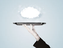 Hand holding clear big cloud on tray Stock Images