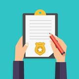 Hand holding clipboard with checklist and pen for police report. Traffic, parking fine, citation, crime report, problems with police, subpoena concepts. Vector Royalty Free Stock Photos