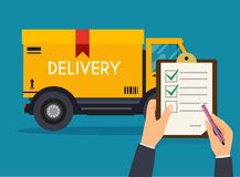 Hand holding clipboard with delivery tracking check. Flat desig. N modern vector illustration concept royalty free illustration