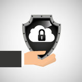 Hand holding cloud security shield data Stock Images