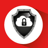 Hand holding cloud security shield data Stock Photos