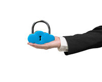 Hand holding cloud shape lock Stock Image