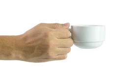 Hand holding coffee cup stock photos