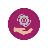 Hand holding cog wheel flat icon. Round colorful button, Gear settings circular vector sign, logo illustration. Royalty Free Stock Image