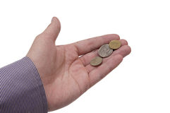 Hand holding coin Stock Photo