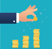 Hand holding coin and build coin graph, business concept vector illustration Royalty Free Stock Photo