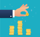 Hand holding coin and build coin graph, business concept vector illustration Stock Photo