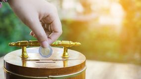 Hand holding coin drops into a wooden piggy bank with light and copy space. Stock Images
