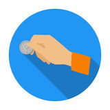 Hand holding coin for parking meter icon in flat style isolated on white background. Parking zone symbol stock vector Royalty Free Stock Photo