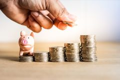 A hand holding coin to saving money for future with piggy bank on stack money,Success of life in future stock image