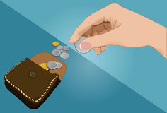Hand holding coin and wallet. For shopping Stock Image