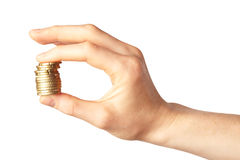 Hand holding coins - budget concept Stock Images