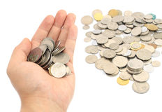 Hand holding coins Stock Photos