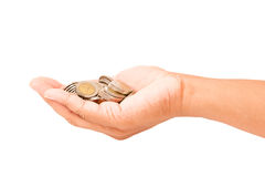 Hand holding coins Royalty Free Stock Image