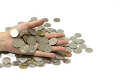 Hand holding coins. Royalty Free Stock Photography