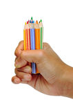 Hand holding the color pencils 2 Royalty Free Stock Photos
