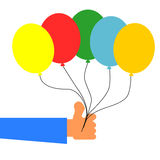 Hand holding colorful balloons. Vector illustration isolated on white background Vector Illustration